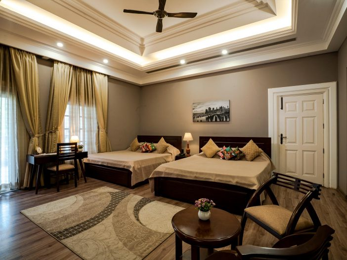 Another beautiful view of the bedroom - double occupancy at the Safe House Wellness Retreat India