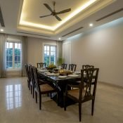 Another picture of the dinning room at the Safe House Wellness Retreat India