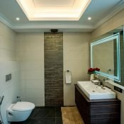 Bathroom of the double occupancy room at the Safe House Wellness Retreat India