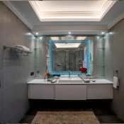 Clean and beautiful bathroom of the double occupancy room at the Safe House