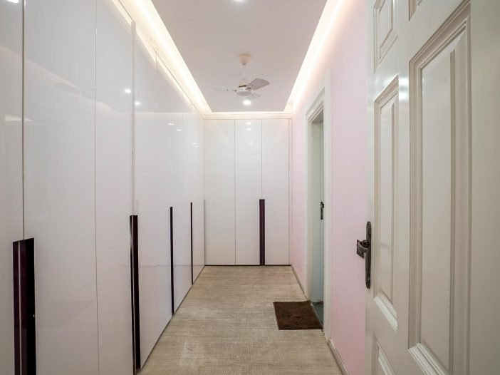 Clean and beautiful closets of the double occupancy room at the Safe House Wellness Retreat India