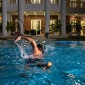 Enjoying the swimming pool at Safe House Wellness Retreat India