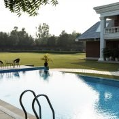 Outdoor poolside view at the Safe House Rehabilitation Centre