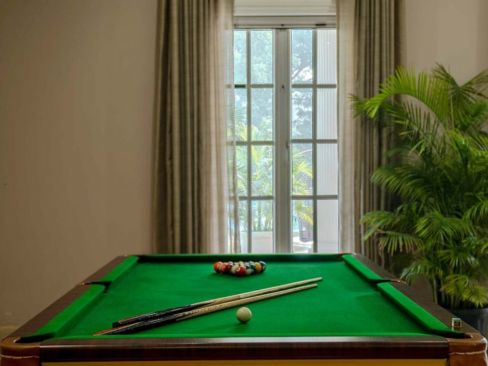 Pool table inside the Safe House Wellness Retreat India