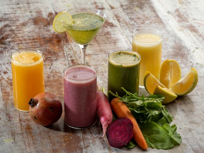 Variety of healthy juices at the Safe House Wellness Retreat India